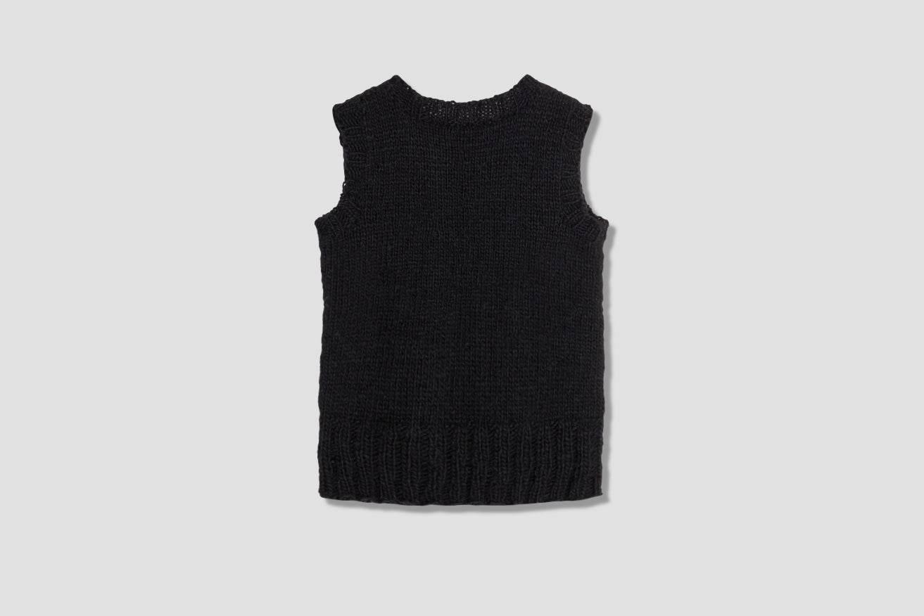 ONE-OFF REPURPOSED YARN VEST 3 Black