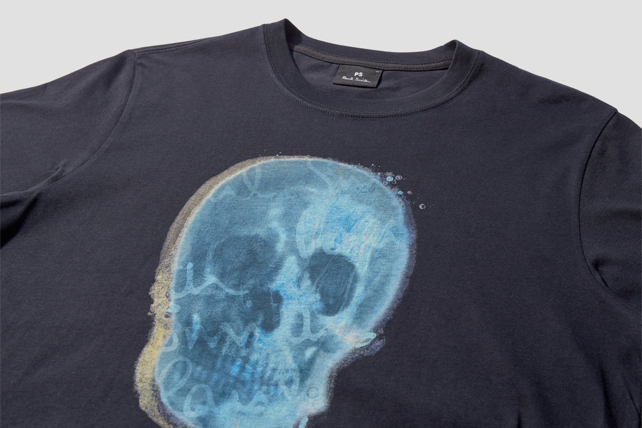 MENS REG FIT T-SHIRT BLUE SKULL M2R-011R-FP2603 Navy