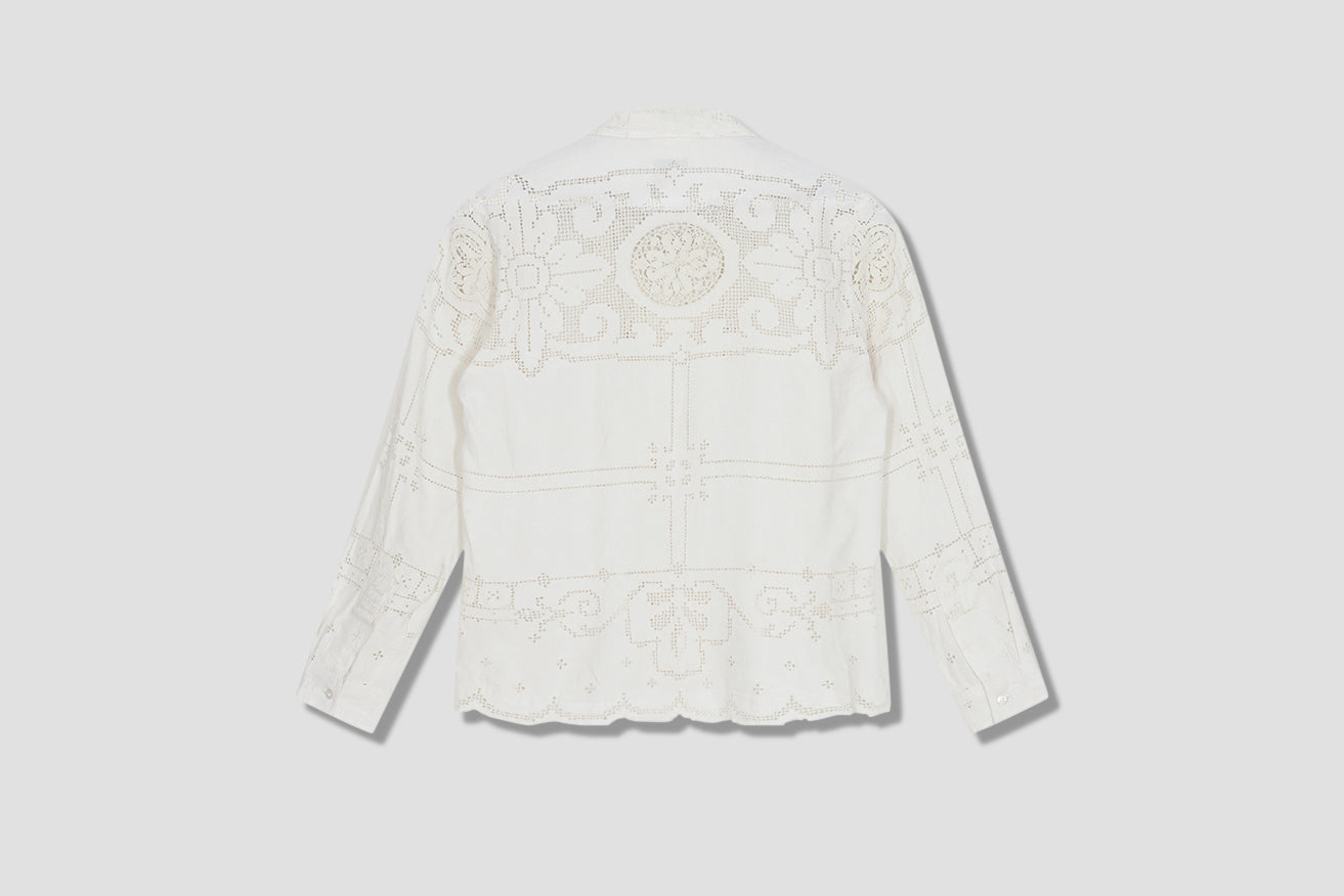 ONE OF A KIND LACE CUTWORK LONG SLEEVE SHIRT MO22SH06.L105.110 Beige
