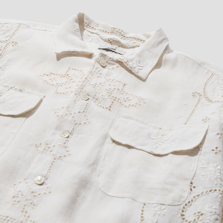 ONE OF A KIND LACE CUTWORK LONG SLEEVE SHIRT MO22SH06.L105.110 Off white