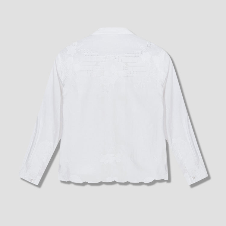 ONE OF A KIND LACE CUTWORK LONG SLEEVE SHIRT MO22SH06.L105.110 White