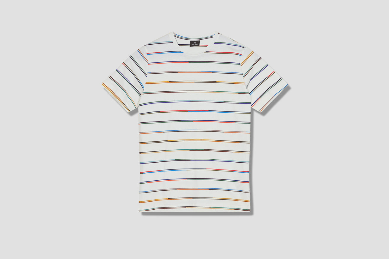MENS T-SHIRT CHAMP STRIPE M2R-238U-F21165 Off white