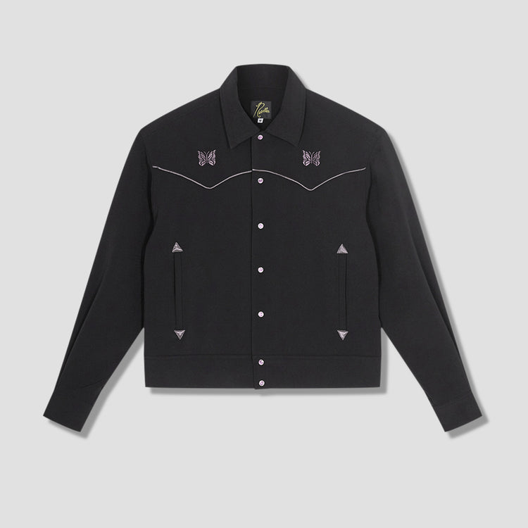 PIPING COWBOY JACKET - PE/PU DOUBLE CLOTH IN054 Black