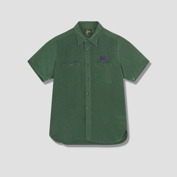 S/S WORK SHIRT - POLY CLOTH IN136 Green