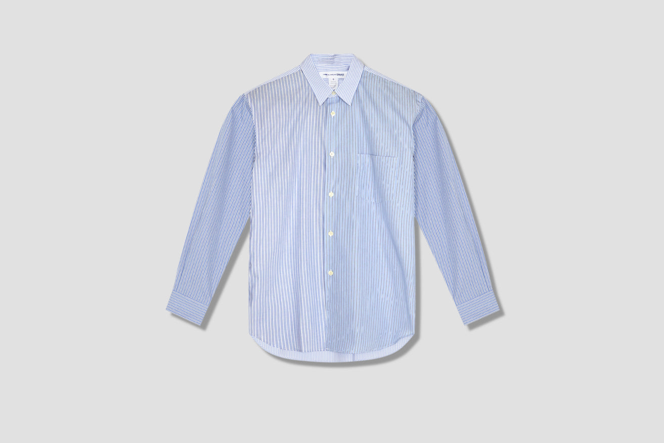 YARN DYED COTTON STRIPE POPLIN - 1 STRIPE / MIX 1 - NARROW CLASSIC A FZ-B107-051 Light blue