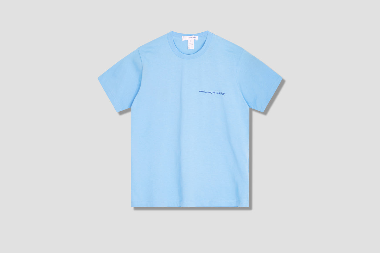 COTTON JERSEY PLAIN WITH FRONT PRINT LOGO CDG SHIRT FG-T020-051 Blue