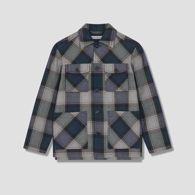 OZRO HEAVY TWILL CHECK B90516 Navy
