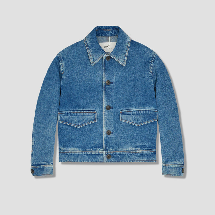 BUTTONED DENIM JACKET E21HD430.601 Blue