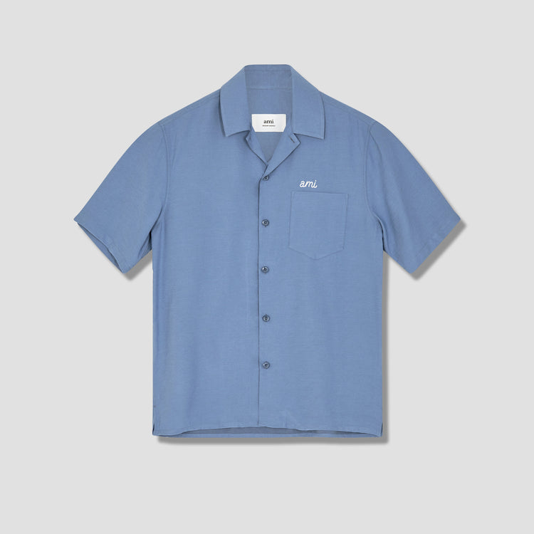 CAMP COLLAR AMI SHIRT E21HC200.452 Light blue