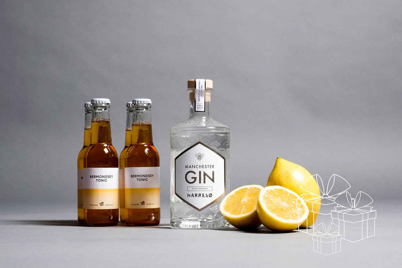 BOX MANCHESTER GIN X HARRESØ WILD DRAGON 40% 500 ML. & 4 BERMONDSEY TONIC 200 ML.