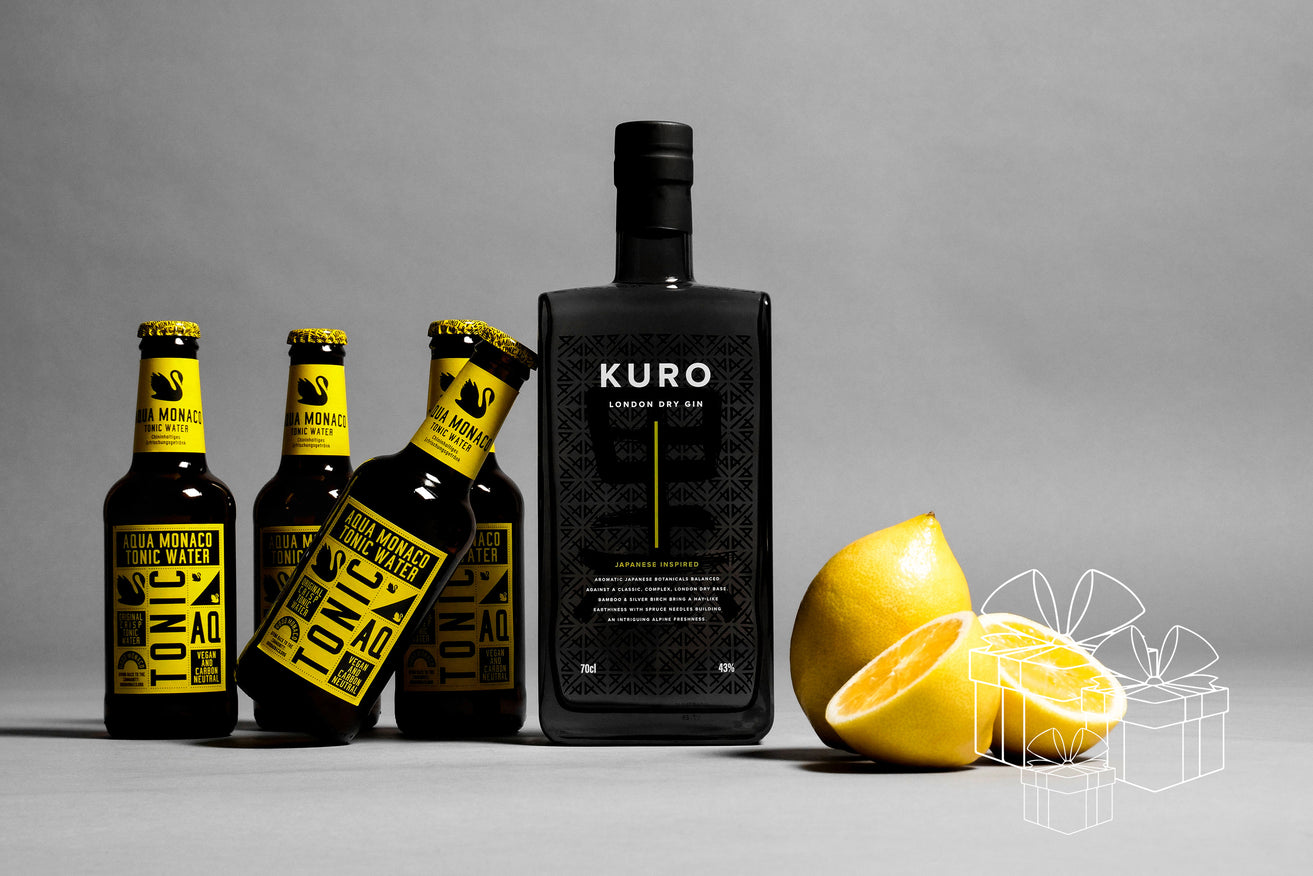 BOX KURO LONDON DRY GIN 43% 700 ML. & 4 MONACO TONIC 230 ML.
