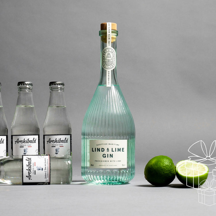 BOX LIND & LIME GIN 44% 700 ML. & 4 ARCHIBALD FRENCH TONIC 200 ML.