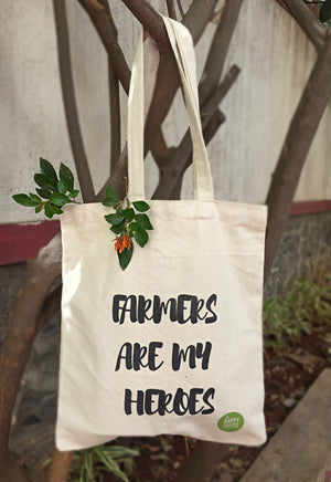 """Farmers are my heroes"" Tote Bags (Eco-friendly)"
