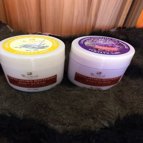 Bismid Exfoliating Whitening Body Scrub (Lavender and Body Milk)