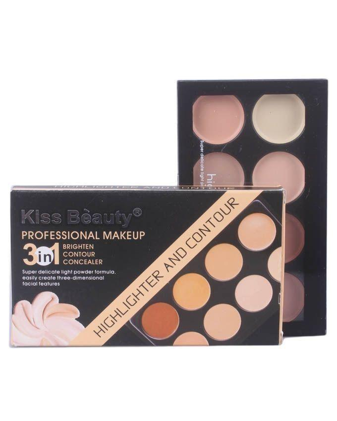 Kiss Beauty Make-Up 3 In 1 Highlight & Contour Concealer Palette