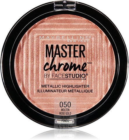 Maybelline makeup 050 Molten Rose Gold Master Chrome Metallic Face Highlighter