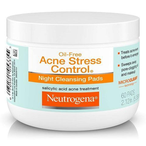 Neutrogena Skin Care Oil-Free Acne Stress Control Night Cleansing Pads