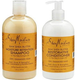 Shea Moisture Hair Care Raw Shea Butter Restorative Shampoo and Conditioner Bundle 13oz