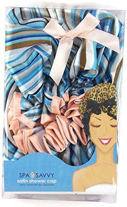 SPa Savvy Hair Care Blue Satin Shower Cap/Bonnet