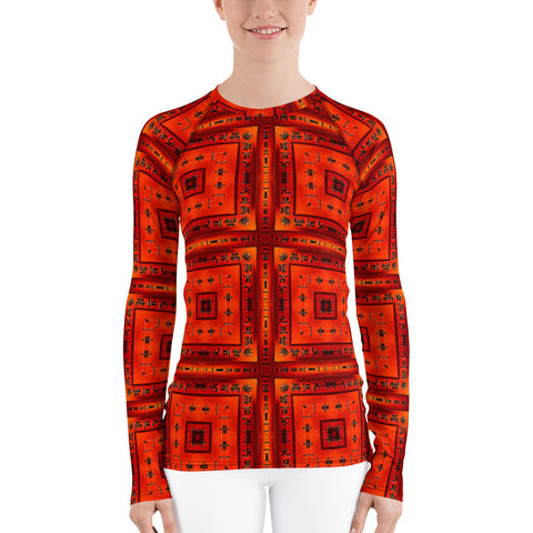 Red Squares All Over - Women's Long Sleeve - KICKI´S SHOP