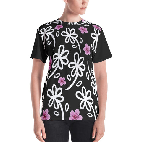 White Flowers All Over - Women's T-Shirt - KICKI´S SHOP