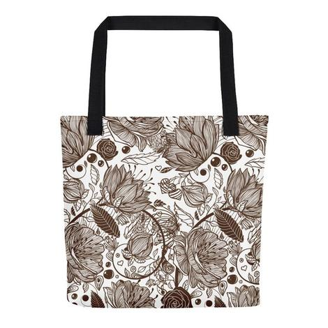 Brown Flowers All Over - Tote Bag - KICKI´S SHOP