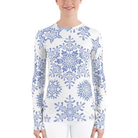 Snowflakes All Over - Women's Long Sleeve - KICKI´S SHOP