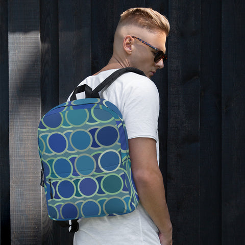 Blue Circles All Over - Backpack - KICKI´S SHOP