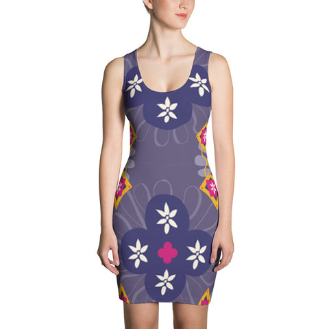 Blue Ladies Flowers All Over - Women´s Dress - KICKI´S SHOP