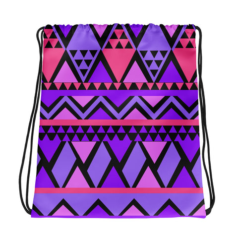 Purple Triangles All Over - Drawstring Bag - KICKI´S SHOP