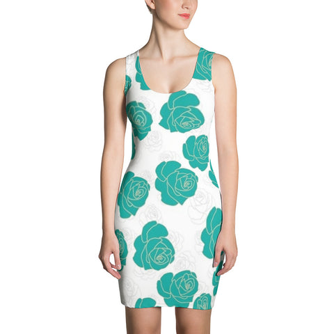 Green Roses All Over - Women´s Dress - KICKI´S SHOP