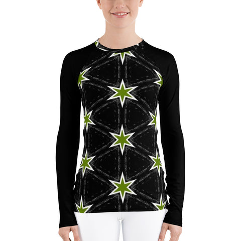 Green Stars All Over - Women's Long Sleeve - KICKI´S SHOP
