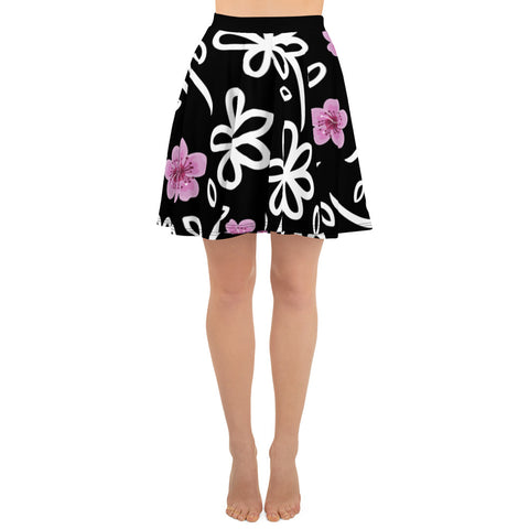 White Flowers All Over - Women´s Skater Skirt - KICKI´S SHOP