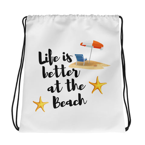 Life Is Better At The Beach - Drawstring Bag - KICKI´S SHOP