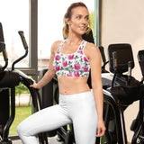 Hot Pink Roses All Over - Women´s Padded Sports Bra - KICKI´S SHOP