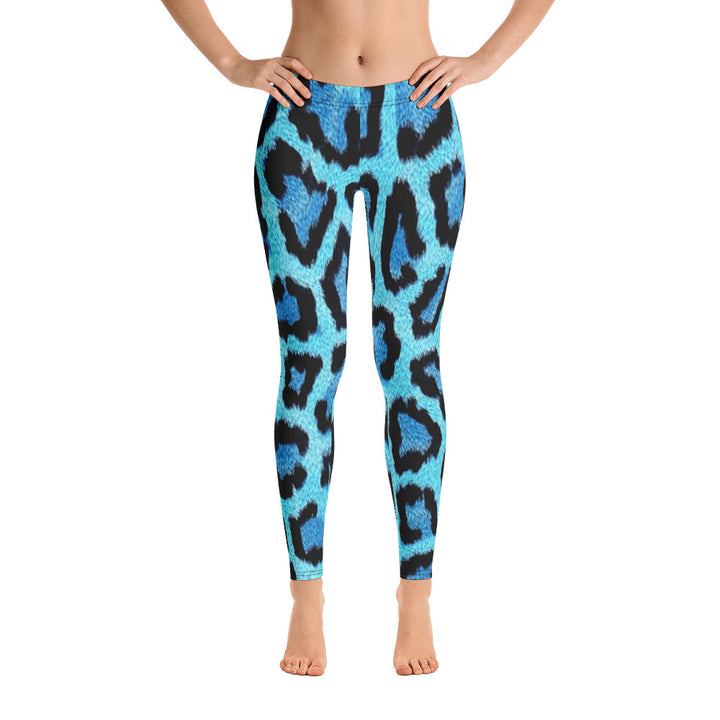 Blue Leopard All Over - Women´s Leggings
