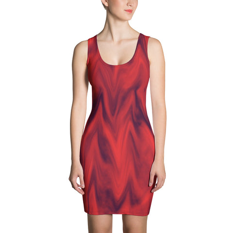 Red Waves All Over - Women´s Dress - KICKI´S SHOP