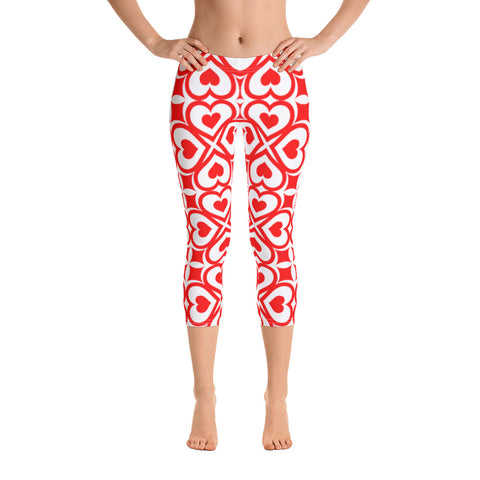 Red Hearts All-Over - Women´s Capri Leggings - KICKI´S SHOP