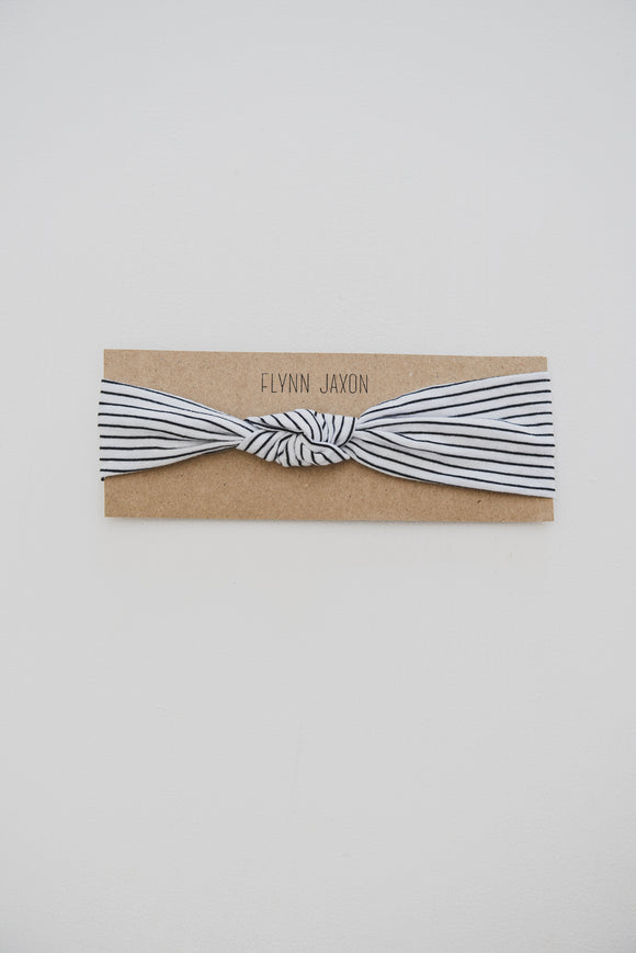 HEADBAND - JESSE (Thin Black+White Stripe) - Flynn Jaxon