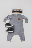 RAGLAN ONESIE - STEVIE (Light Grey) - Flynn Jaxon