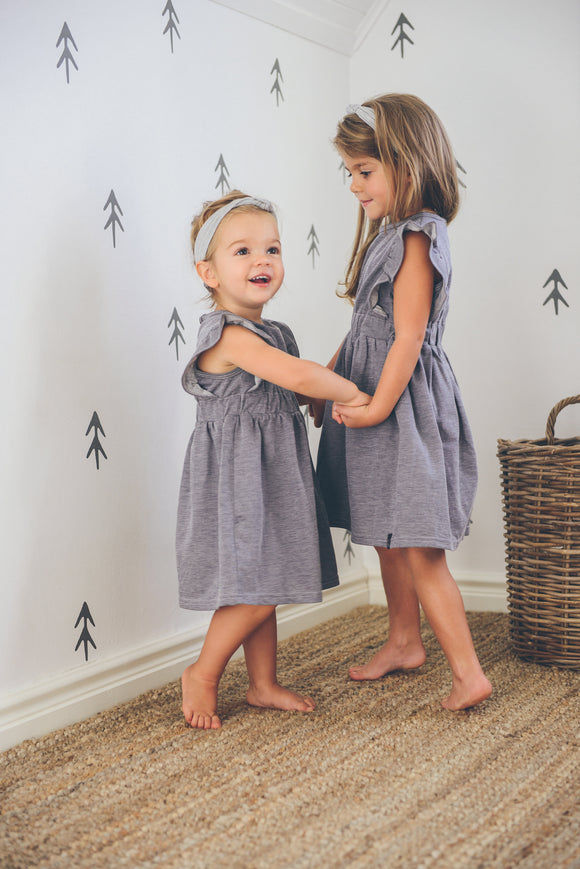 FRILLED DRESS - DENIM BLEND - Flynn Jaxon