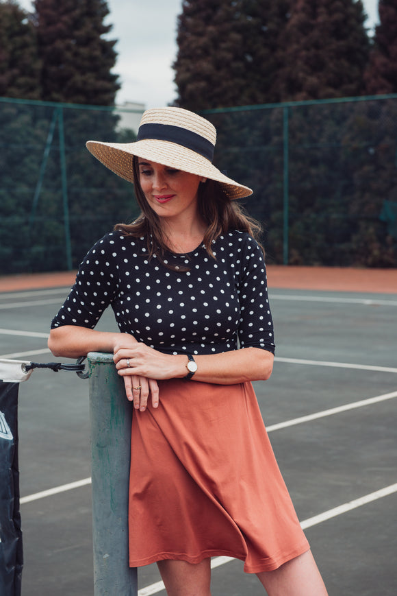 ADULT EVERYDAY DRESS - RUSTY ROSE DOTTY