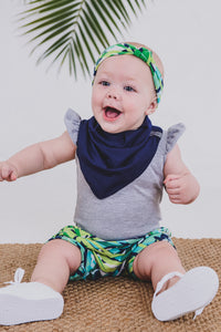 HEADBAND - JUNGLE (Navy+Turquoise Print)