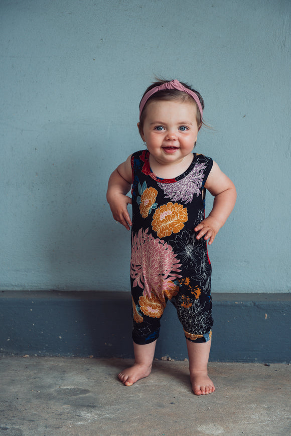 ROMPER - WILDFLOWER (Black Floral Cropped) - Flynn Jaxon