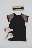 T-SHIRT DRESS - BLACK GOLD RAGLAN - Flynn Jaxon