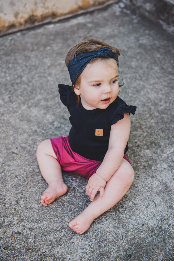BABY VEST - BLACK FRILLED