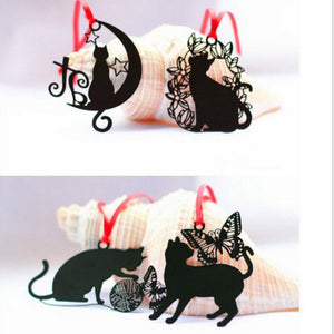 Black Cat Metal Bookmark