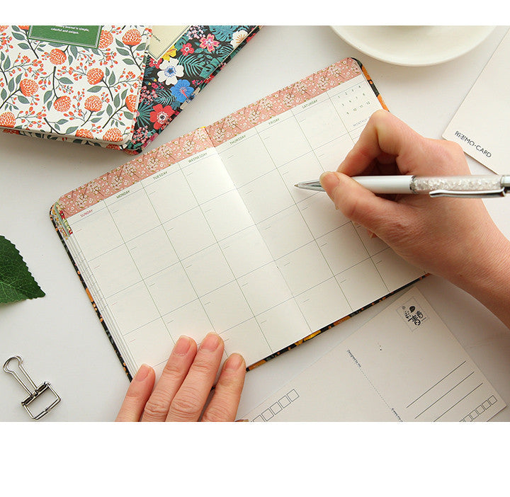 Leather Flower Schedule Book Diary Weekly Planner Notebook