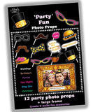 12 Party Photo Props and Frame