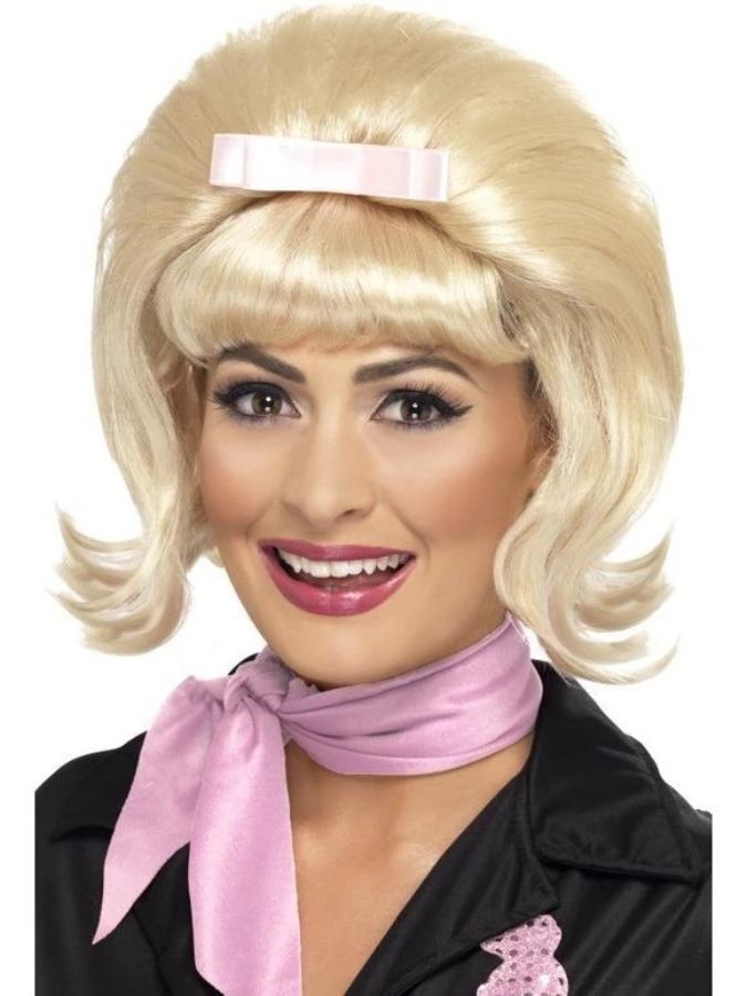 50's Flicked Beehive Bob Wig with Ribbon Bow